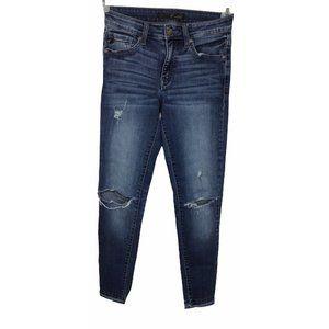 "KanCan Skinny Distressed Jeans Sz 25 Torn Fashion Blue Wash 27"" Inseam"